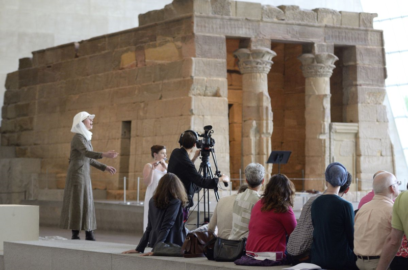 Kate Soper (left) as Amelia Edwards at the Temple of Dendur