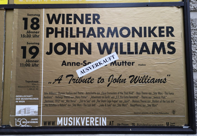 John Williams Vienna Philharmonic Musikverein Poster